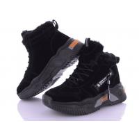 Ботинки зимние замшевые Seven женские черные