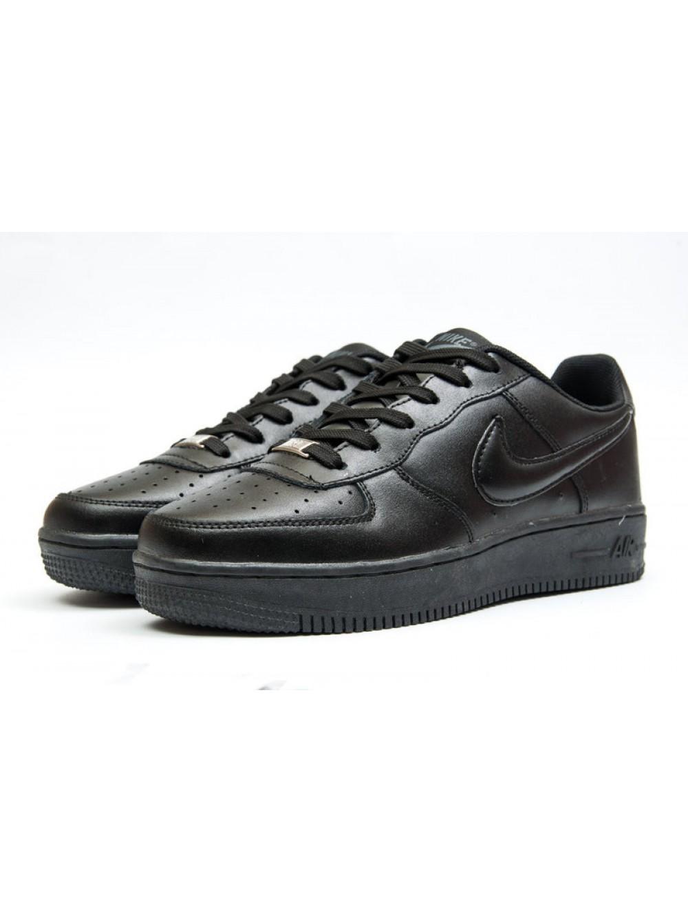 234bd504 Кроссовки кожаные мужские Nike Air Force, Чёрные, 12042, 41-46р. Купить