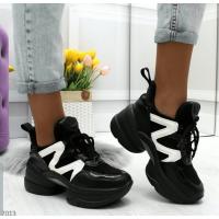Модные женские кроссовки Raffelli черные на высокой подошве, 36-41р.