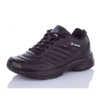 Кожаные кроссовки Restime Running черные на пене