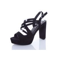 Босоножки женские Stilli замшевые черные на каблуке